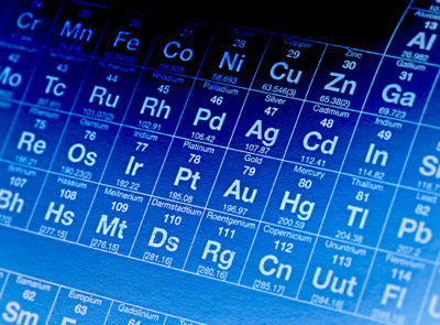 Blue periodic table of elements